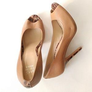 Saks Fifth Avenue open toe heels animal print 9